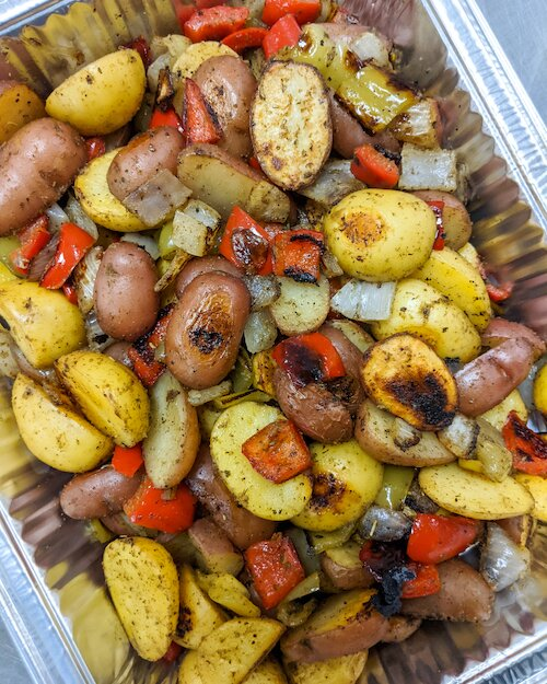 Roasted Potatoes with Bell Peppers and Onions}